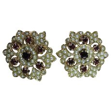 Vintage 14K Yellow Gold Garnet And Pearl Snowflake Clip Earrings
