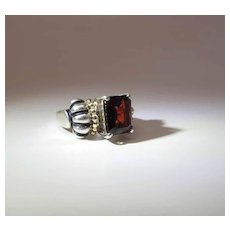 Vintage Sterling Silver And 14K Gold Bohemian Garnet Ring
