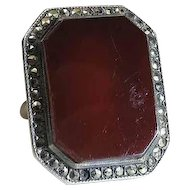 Vintage Sterling Silver Carnelian And Marcasite Art Deco Ring