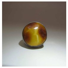Vintage Sterling Silver And Baltic Amber Ring