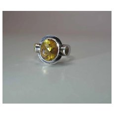 Vintage Sterling Silver Ring With Three Citrine Gemstones
