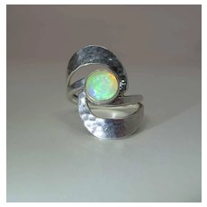 Vintage Dominique Dinouart Designs Hammered Sterling Silver And Fire Opal Ring