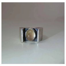Vintage Sterling Silver And Rock Crystal Unisex Ring