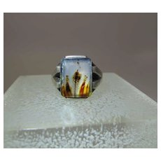 Vintage Sterling Silver And Moss / Picture Agate Unisex Ring Size 12.5