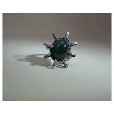 Vintage Sterling Silver And Chrysoprase Modernist Ring