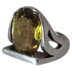 Sleek Modernist Sterling Silver And 7.67 Carat Citrine Ring