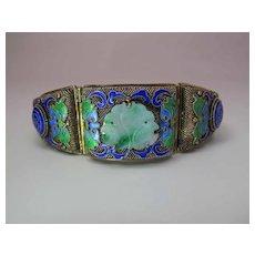 Antique Circa 1920 Chinese Enameled Gold Washed Silver & Carved Jadeite Bracelet