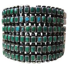 1940's Vintage Zuni Six Row Square Petit-Point Turquoise Cuff Bracelet 72 Grams