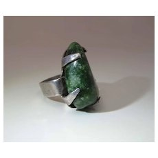 Vintage Sterling Silver Green Snowflake Agate Ring