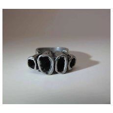 "Vintage Sterling Silver Modernist ""Barnacle"" Brutalist Ring"