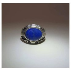 Vintage Sterling Silver And Lapis Arts & Crafts Style Ring