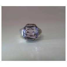 Antique Circa 1920 Early Art Deco Era Sterling Silver And Amethyst Ring