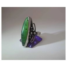 Vintage 1960's Polish 800 Silver Speckled Chrysoprase Ring Signed RYT