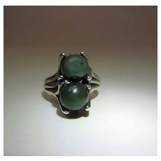 Vintage Mid Century Modernist Sterling Silver And Chrysoprase Ring