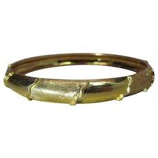 Vintage 18K Yellow Gold Bangle Bracelet With Lovely Design