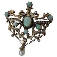Vintage Renaissance Style 14K Gold Opal & Seed Pearl Festoon Pendant Brooch