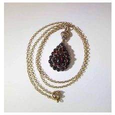 Antique 9K Gold Rose Cut Bohemian Garnet Pendant On 10K Chain Necklace