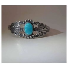 """Vintage Navajo Coin Silver & Turquoise Cuff Bracelet Signed """"IH"""" Indian Handmade"""