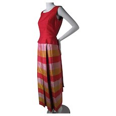 Joyful 1960's Vintage Jeanne Lanvin Color Block Silk Dupioni Maxi Skirt Suit