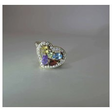 Romantic Vintage 14k Gold Witch's Heart Ring With Fruit Salad Mixed Gemstones & Diamonds