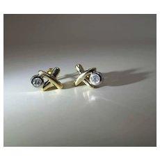 "Maine Estate 14K Yellow Gold Diamond ""X"" Post Earrings"