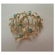 Vintage Dan Frere 14K Gold & Emerald Weeping Tree Pendant Brooch