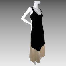 1968 Marguery Bolhagen Candlelight Silk Charmeuse & Black Velvet Evening Dress