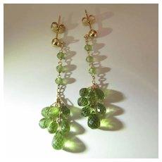 Vintage 14K Yellow Gold 1 3/4-Inch Long Peridot Briolette Fringe Earrings
