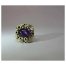 Vintage 18K Yellow Gold Natural Amethyst Cocktail Ring