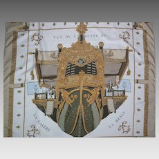 Vintage Hermes Silk Scarf Vue Du Carosse De La Galere La Reale In Gold Colorway