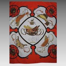 Vintage Hermes Silk Scarf Springs Pattern In Vivid Orange Colorway