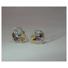 Vintage 14k Gold Witch's Heart Earrings Fruit Salad Mixed Gemstones & Diamonds