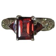 Vintage 14K Gold Emerald Cut & Trilliant Cut Rhodolite Garnet Three Stone Ring