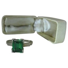 Vintage 14K White Gold Emerald-Cut Green Synthetic Spinel Ring