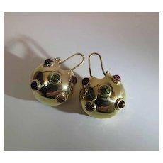 Vintage 18K Yellow Gold Sputnik Style Mixed Gemstone Dangle Earrings 15.6 Grams