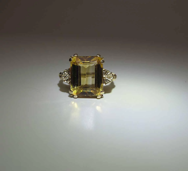 bff7fb7e01400 Vintage 14K Yellow Gold 5 Carat Emerald Cut Citrine Cocktail Ring