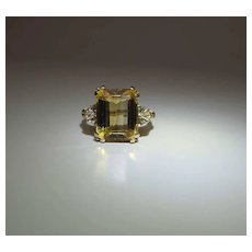 Vintage 14K Yellow Gold 5 Carat Emerald Cut Citrine Cocktail Ring