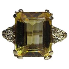 Vintage 14K Yellow Gold 5 Carat Emerald Cut Citrine Cocktail Ring