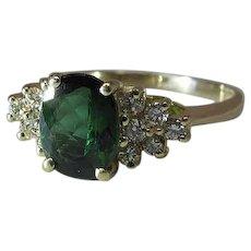 Vintage 14K Yellow Gold 1.25 Carat Chrome Blue - Green Tourmaline & Diamond Ring