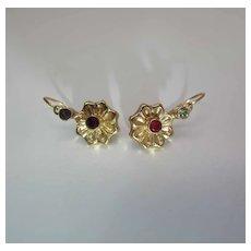Vintage 20K Gold Hinged Wire Earrings Garnet & Quartz Gemstones