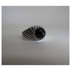 Vintage Sterling Silver And Black Onyx Unisex Ring Size 10.75