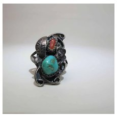 Vintage Navajo Sterling Silver Coral And Turquoise Ring Size 5.75