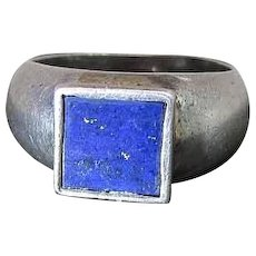Vintage Sterling Silver & Lapis Unisex Ring Size 7.5