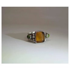 Vintage Sterling Silver Amber & Peridot Unisex Ring Size 8
