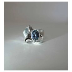 Vintage Sterling Silver And Synthetic Blue Sapphire Modernist Unisex Ring Size 8