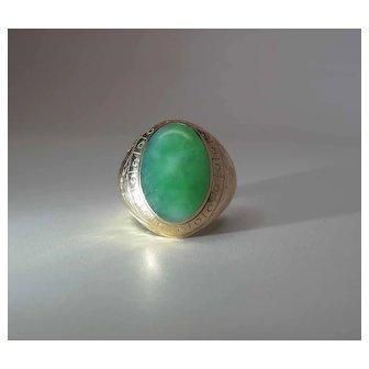 Fine Antique Victorian 14K Gold 7 Carat Jadeite Jade Men's Ring