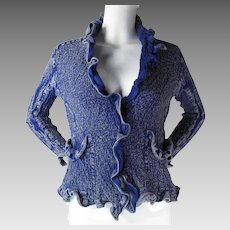 Vintage Issey Miyake Textural Cauliflower Denim Look Jacket