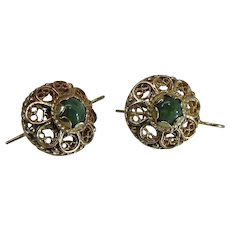 Vintage 14K Yellow Gold Green Jade Earrings With Shepherd's Crook Wires
