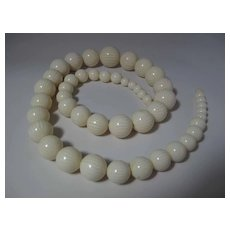 Dramatic & Outstanding 32 Inch Art Deco Era Simulated Ivory Celluloid Necklace