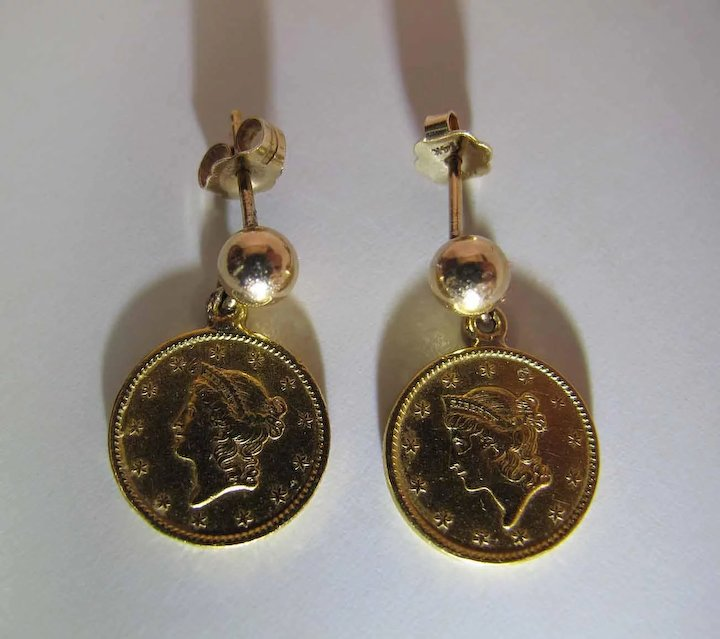 Dated 1849 1851 22k One Dollar Gold Piece Earrings With 14k Posts